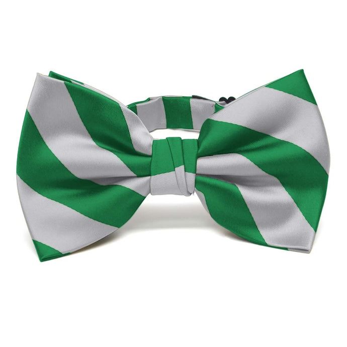 Kelly Green and Silver Striped Bow Tie