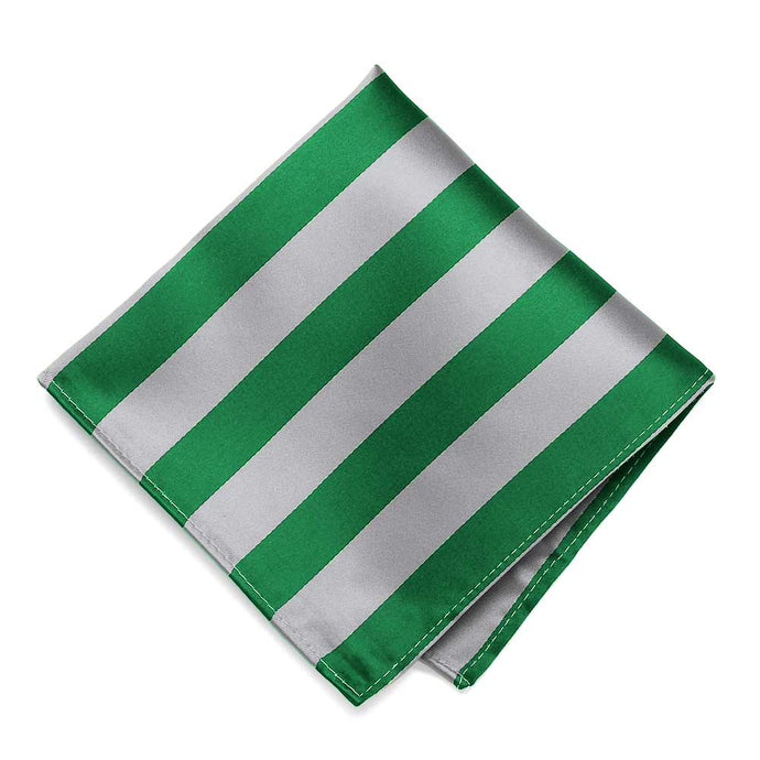 Kelly Green and Silver Striped Pocket Square