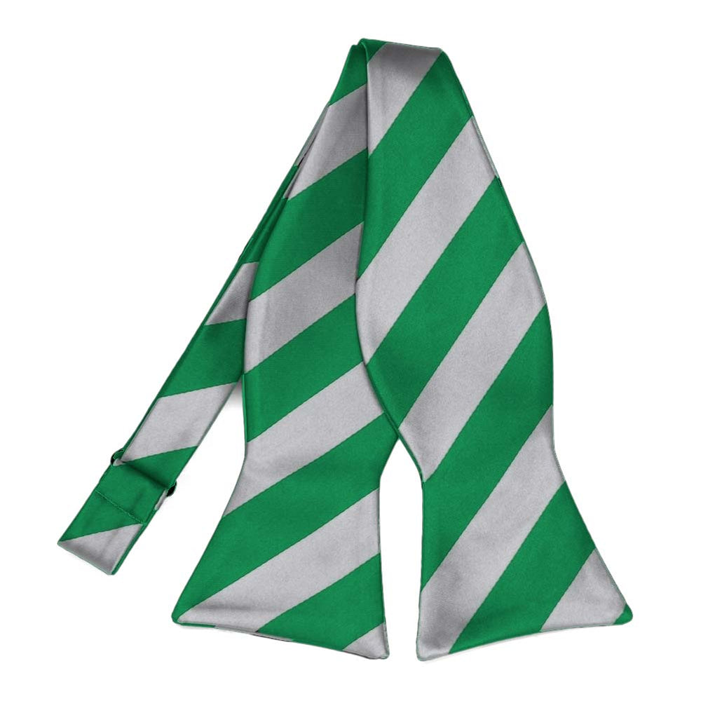 Kelly Green and Silver Striped Self-Tie Bow Tie