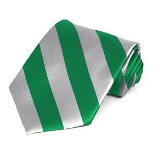 Kelly Green and Silver Striped Tie