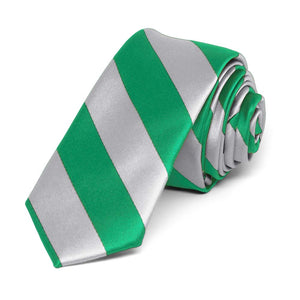 "Kelly Green and Silver Striped Skinny Tie, 2"" Width"