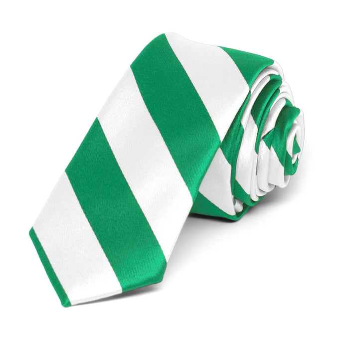 Kelly Green and White Striped Skinny Tie, 2