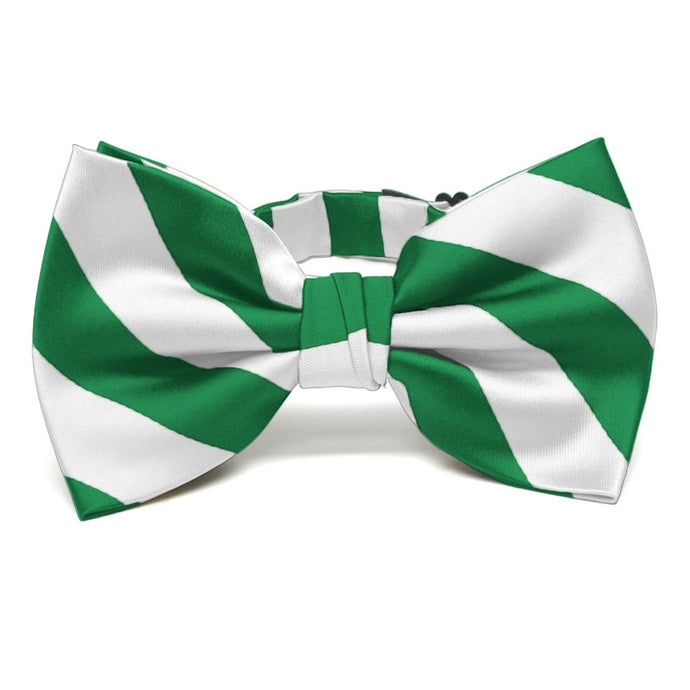 Kelly Green and White Striped Bow Tie