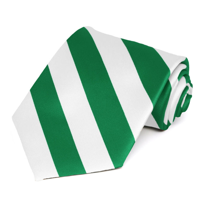 Kelly Green and White Extra Long Striped Tie