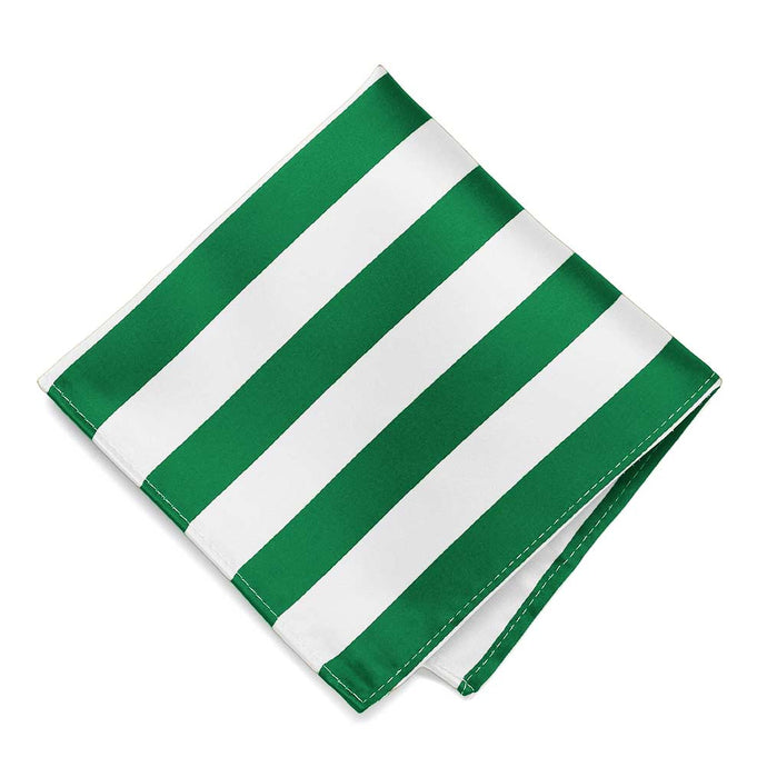 Kelly Green and White Striped Pocket Square
