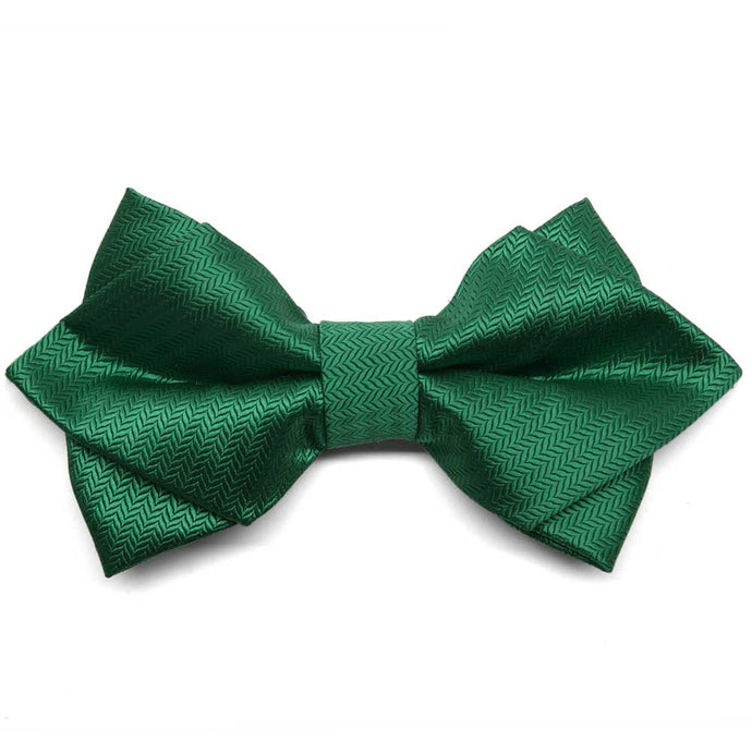 Kelly Green Herringbone Diamond Tip Bow Tie