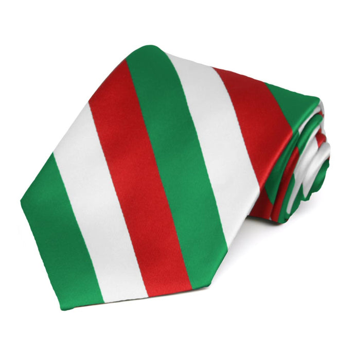Kelly Green, Red and White Extra Long Striped Tie