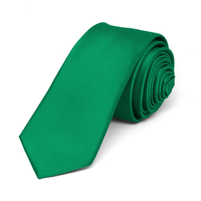 Kelly Green Skinny Solid Color Necktie, 2