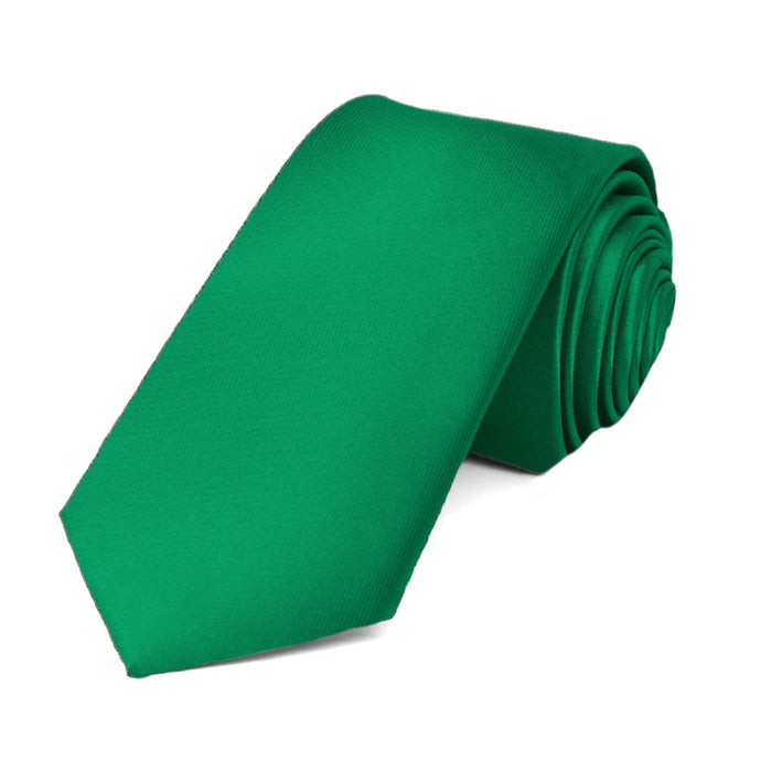 Kelly Green Slim Solid Color Necktie, 2.5