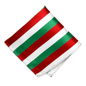 Kelly Green, White and Red Striped Pocket Square