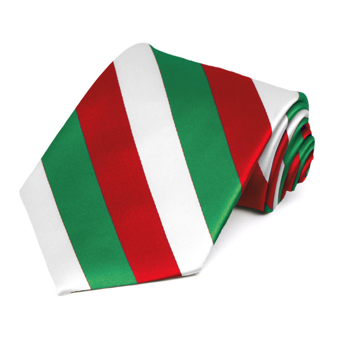Kelly Green, White and Red Extra Long Striped Tie