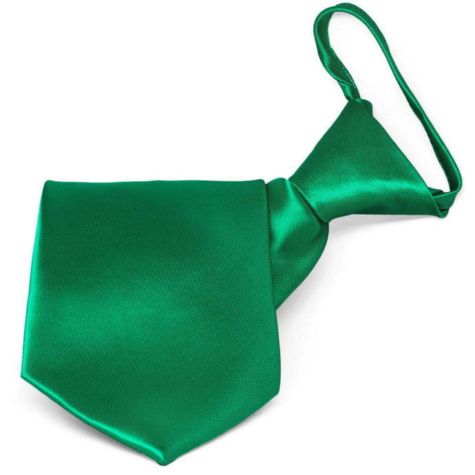 Kelly Green Solid Color Zipper Tie