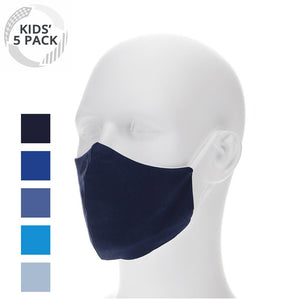5 pack kids blue variety cloth face masks