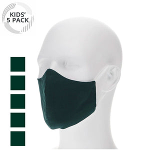 5 pack kids fold hunter green face masks