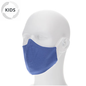 Kids vintage blue face mask on a mannequin with filter pocket