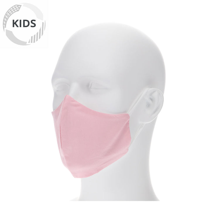 kids dusty pink face mask on a mannequin with filter pocket