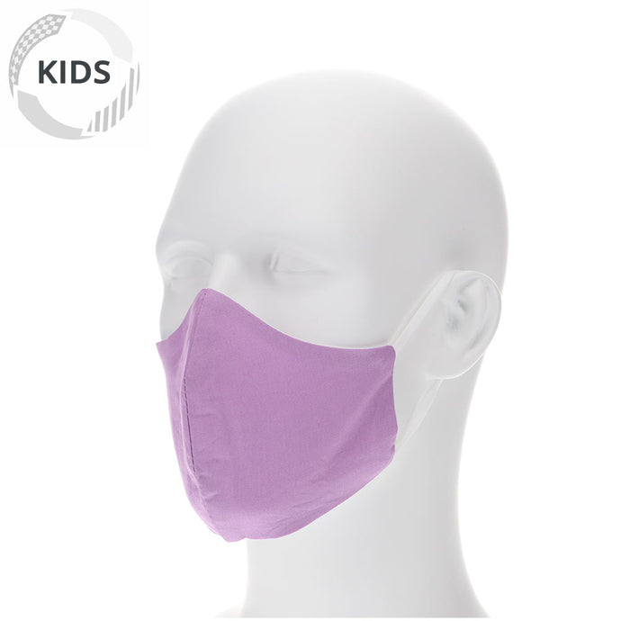 kids english lavender face mask on a mannequin with filter pocket