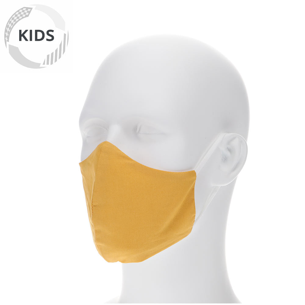 kids gold bar face mask on a mannequin with filter pocket