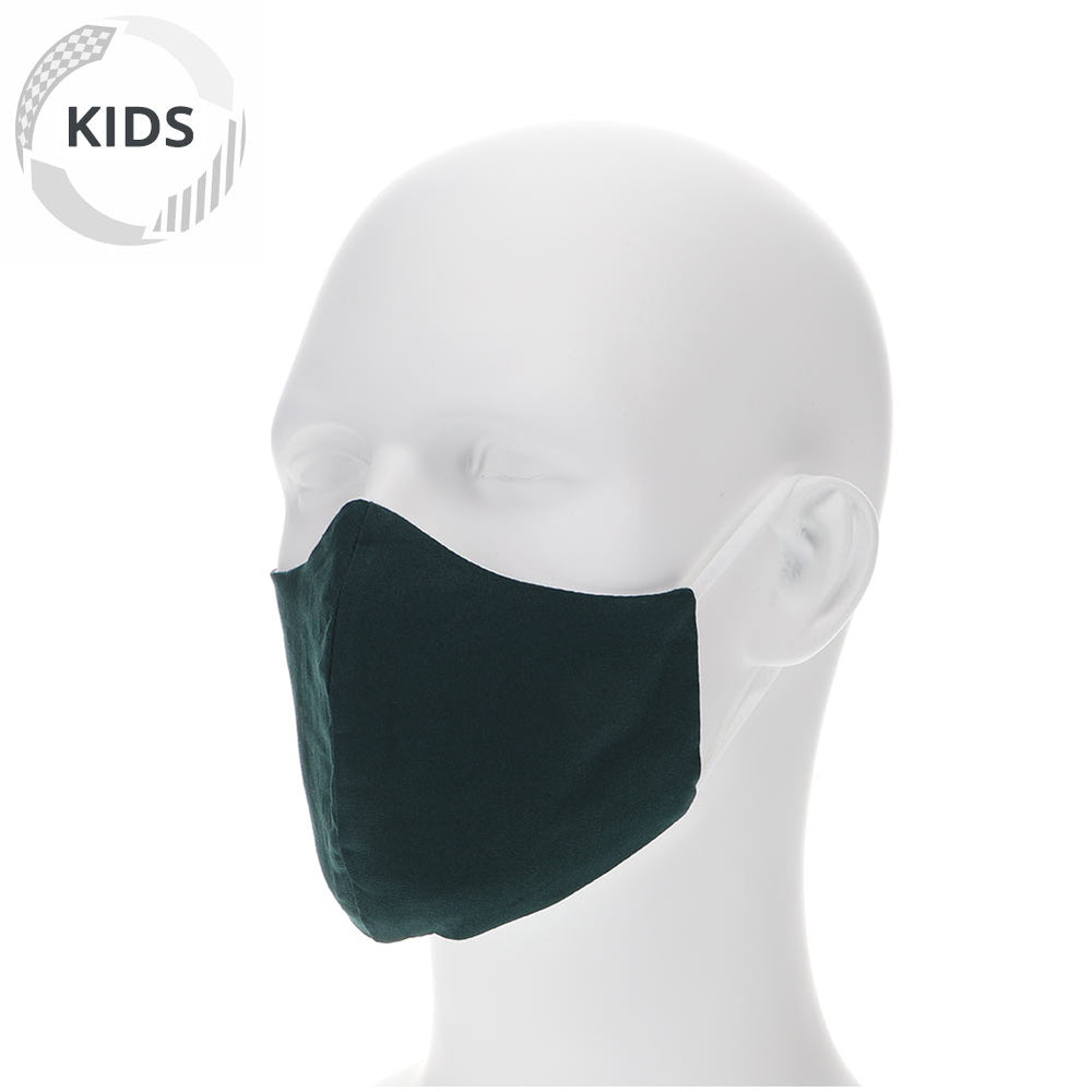 kids hunter green face mask on a mannequin with filter pocket