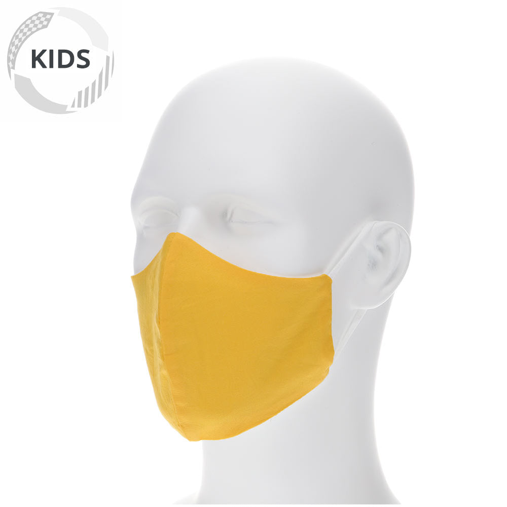 kids lemon yellow face mask on a mannequin with filter pocket