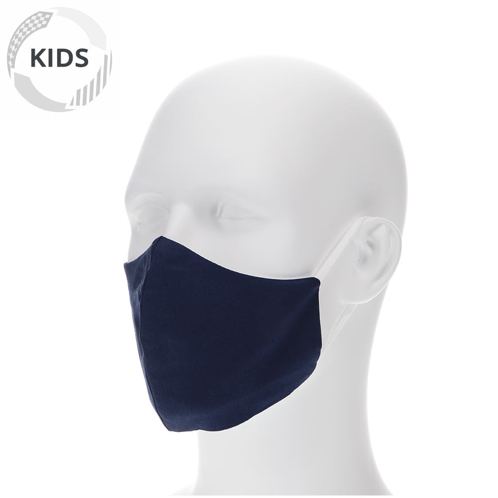 kids navy blue face mask on a mannequin with filter pocket