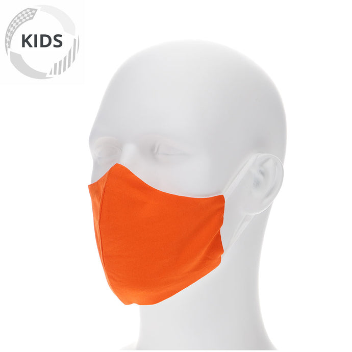 kids orange face mask on a mannequin with filter pocket