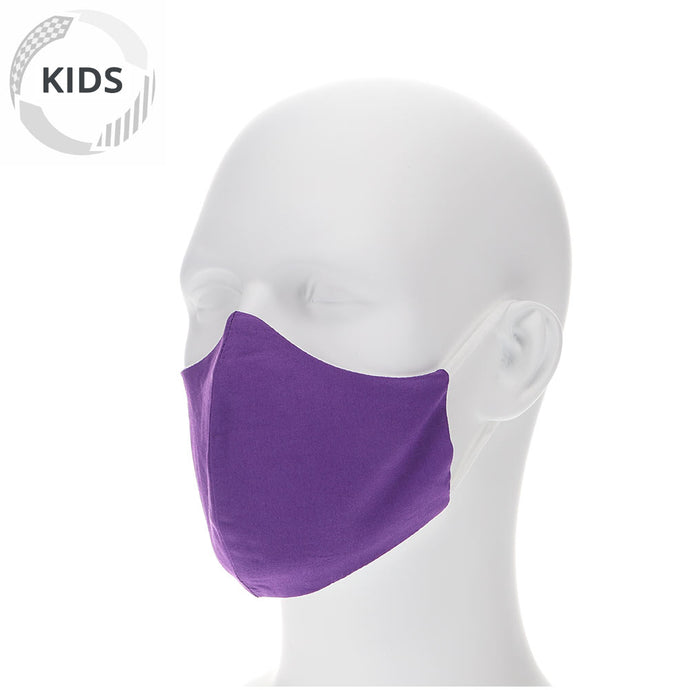 kids purple face mask on a mannequin with filter pocket