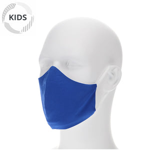 Kids royal blue face mask on a mannequin with filter pocket