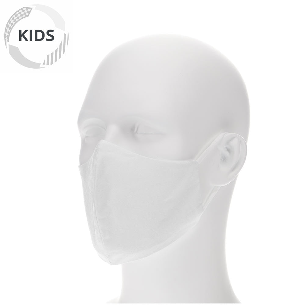 Kids white face mask on a mannequin with filter pocket