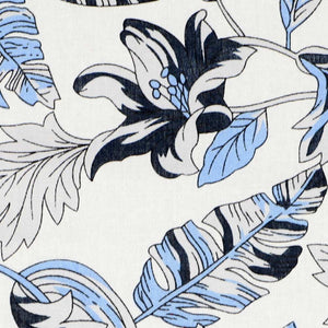 Blue, gray and white Hawaiian fabric