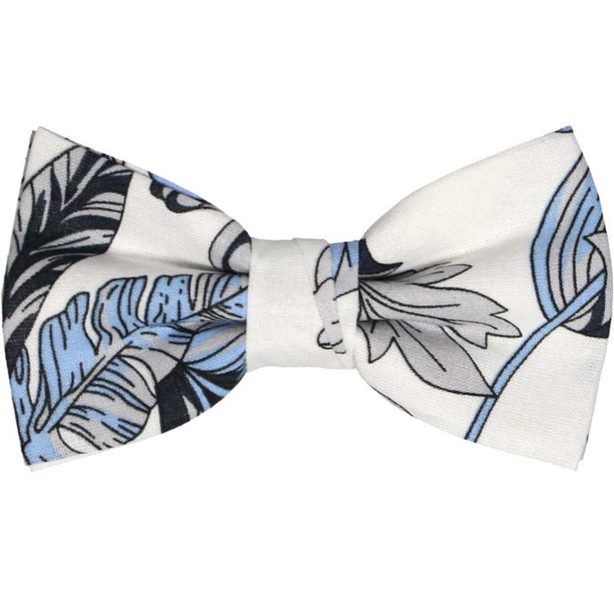 Blue and white Hawaiian flower bow tie