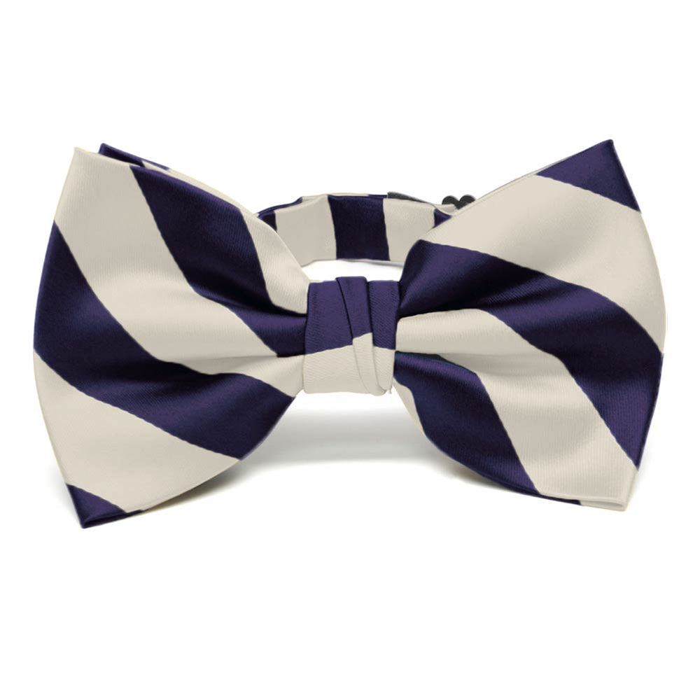 Lapis Purple and Ivory Striped Bow Tie