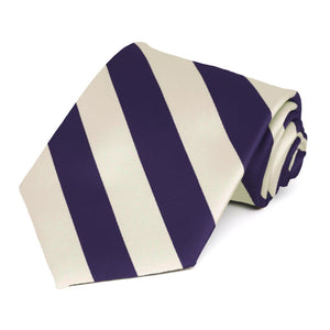 Lapis Purple and Ivory Striped Tie
