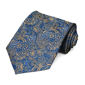 Latte and Dark Blue Galway Floral Necktie