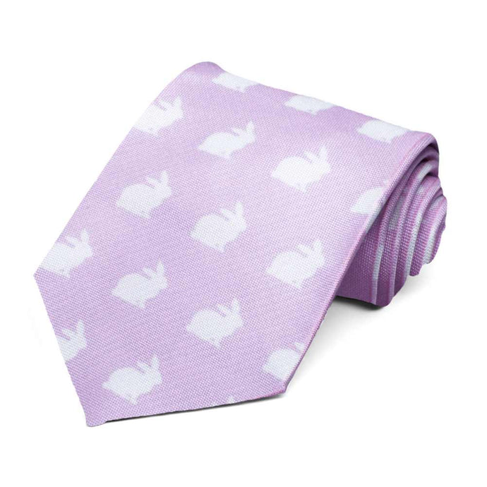 White silhouette bunnies on a lavender tie.