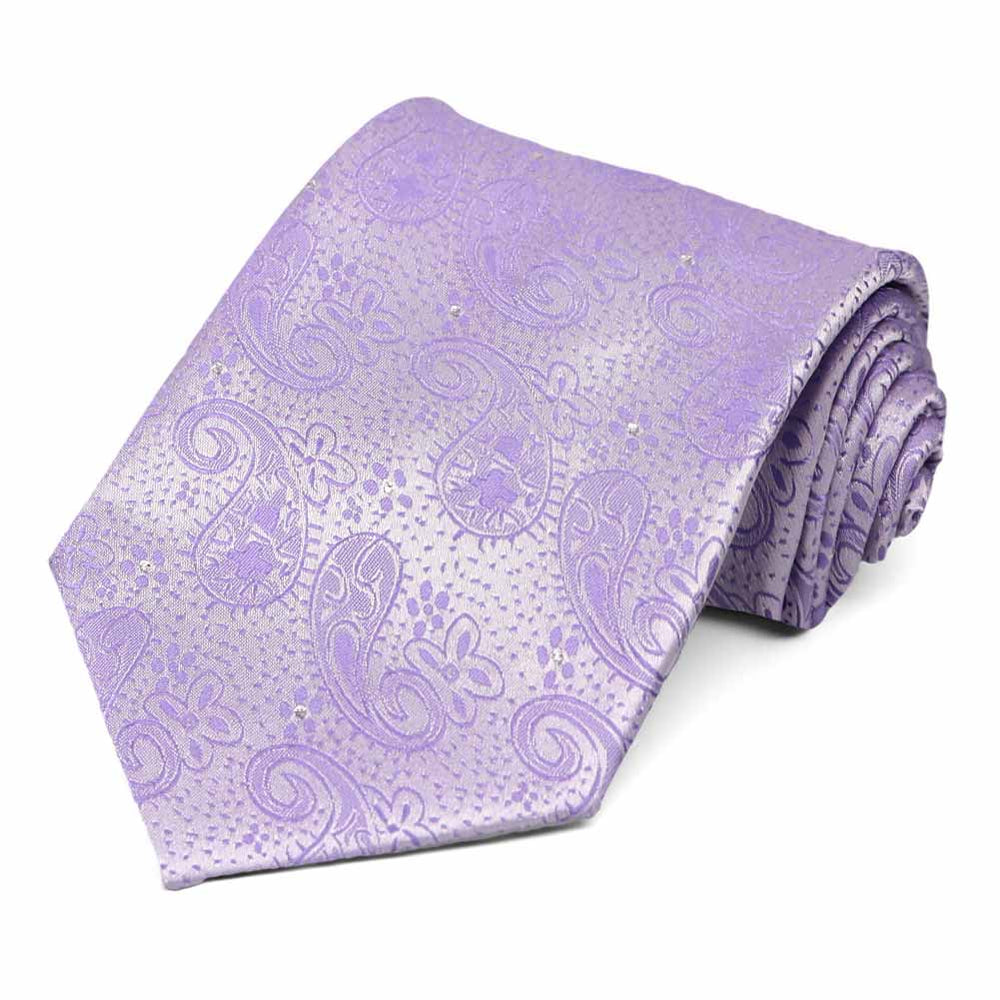 Lavender Wicklow Metallic Paisley Extra Long Necktie