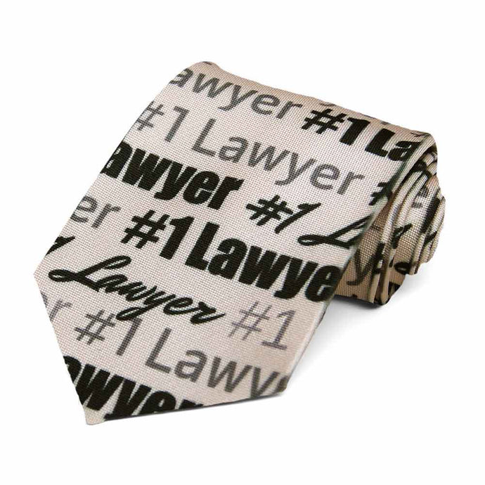 #1 lawyer text on a beige tie.