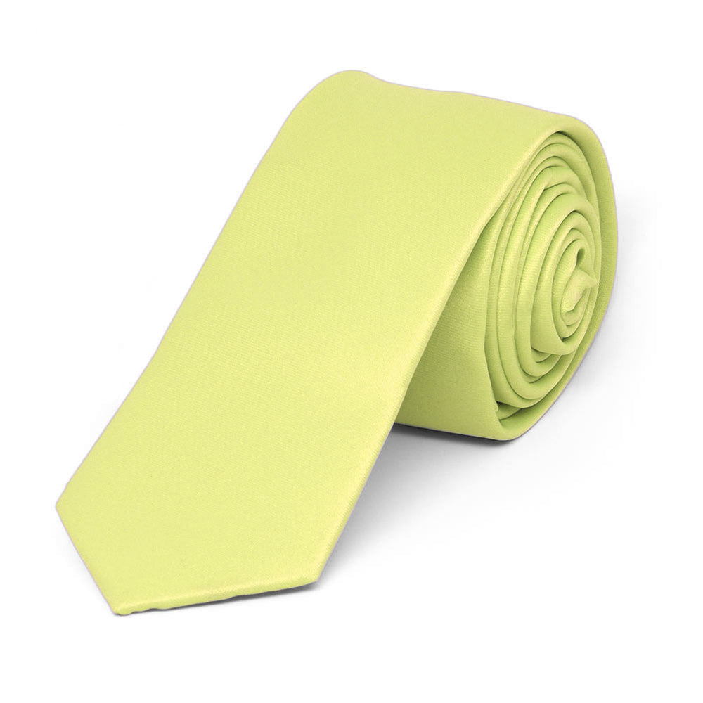 Lemon Lime Skinny Solid Color Necktie, 2