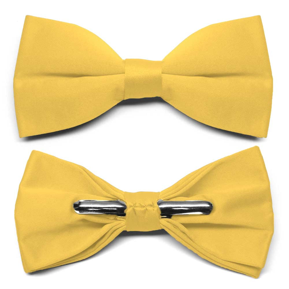 Lemon Yellow Clip-On Bow Tie