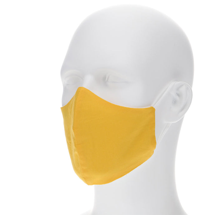 lemon yellow face mask on a mannequin with filter pocket