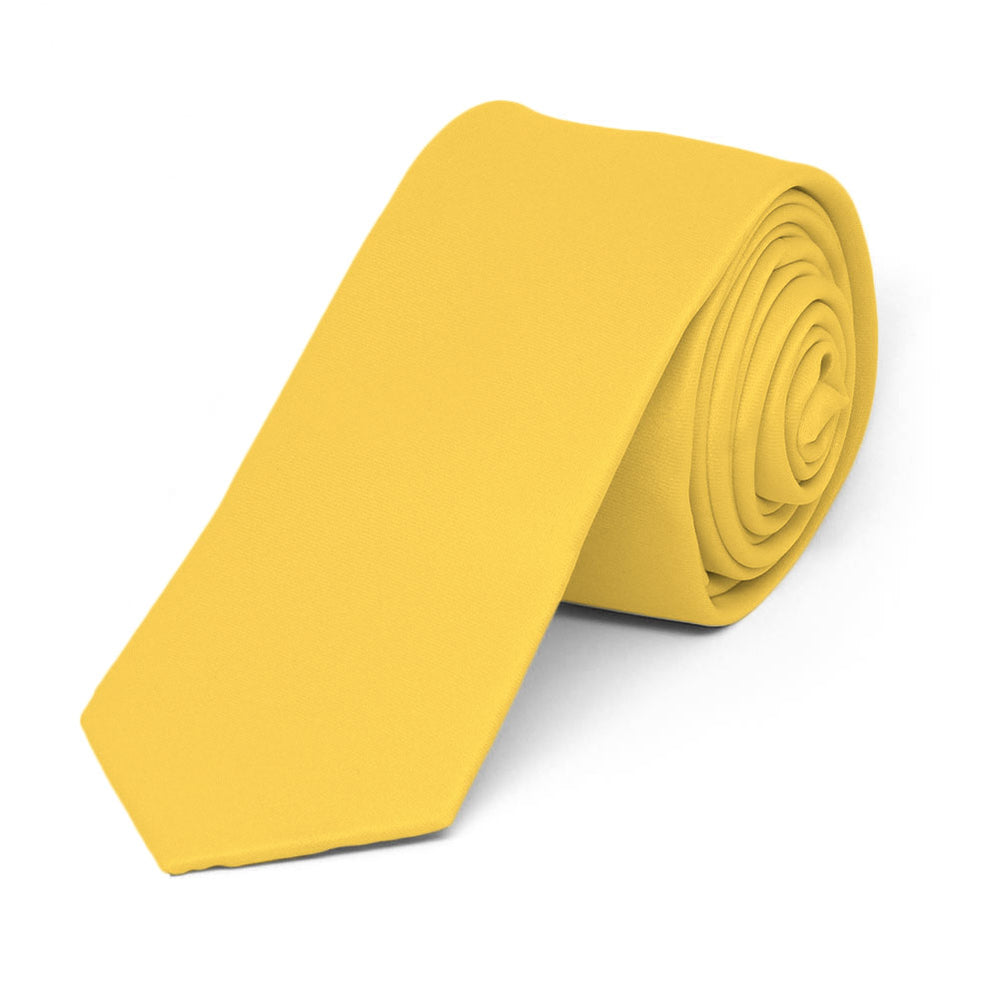 Lemon Yellow Skinny Solid Color Necktie, 2