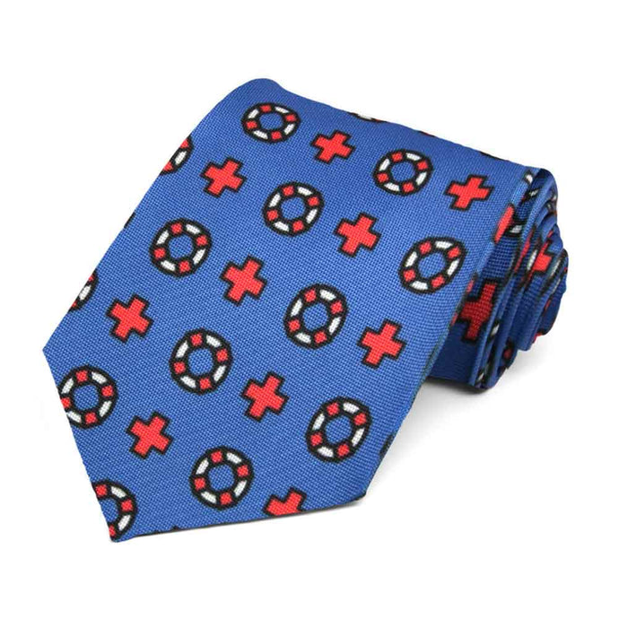 red and white lifeguard icons on a blue tie.