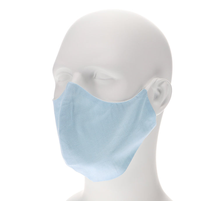 Light blue face mask on mannequin