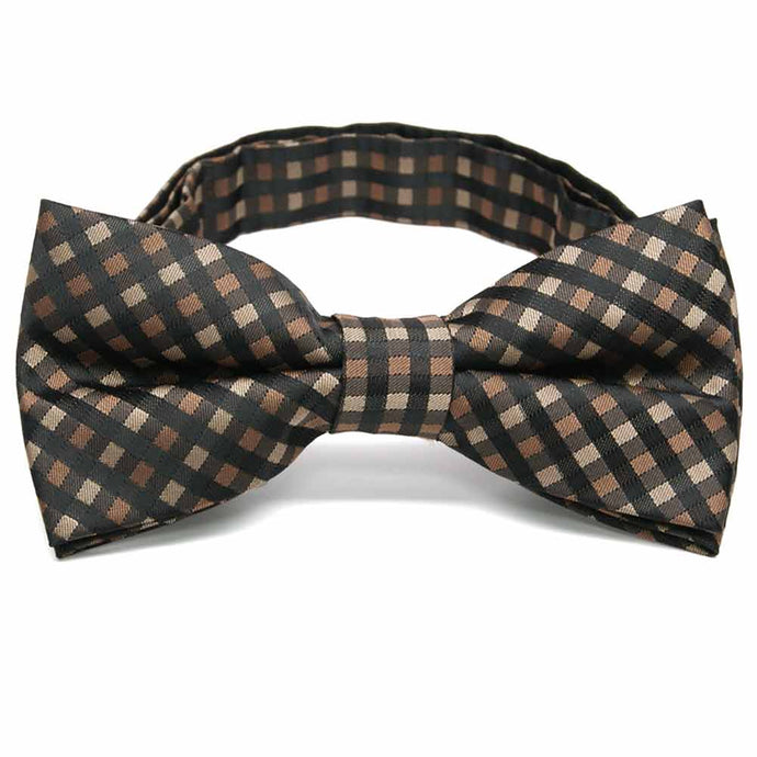 Light Brown George Plaid Band Collar Bow Tie