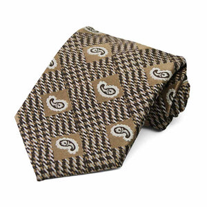Light Brown Churchill Paisley Necktie