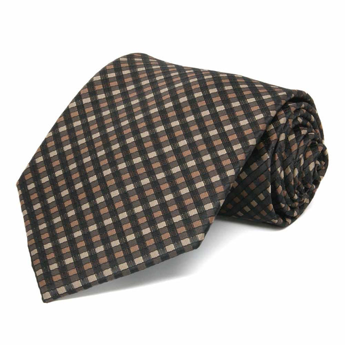 Light Brown George Plaid Extra Long Necktie