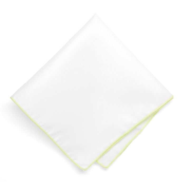 Light Lime Tipped White Pocket Square