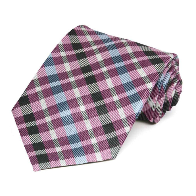 Light Magenta Debutante Plaid Cotton/Silk Necktie