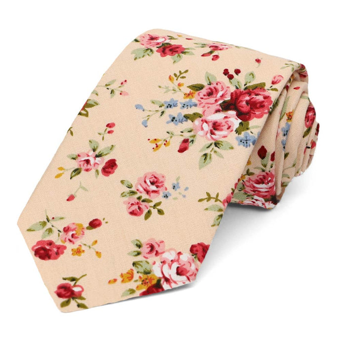 Laguna Floral Cotton Narrow Necktie