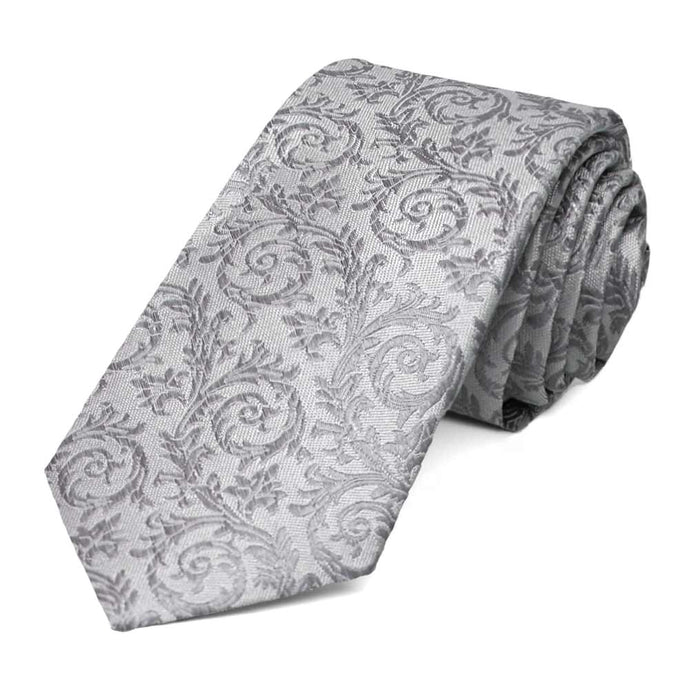 Light Silver Groom Floral Silk Slim Necktie, 2.5